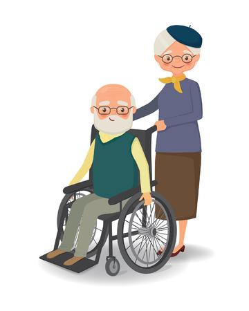 Elderly woman strolling with disabled elderly man. Cartoon vector illustration