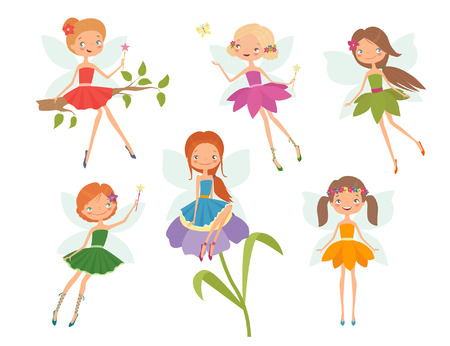 Cartoon character set of cute little fairies. Vector illustration Illustration