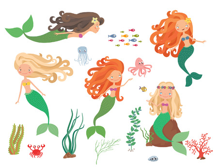 Sea collection. Mermaids and sea animals on a white background. Cartoon vector illustration