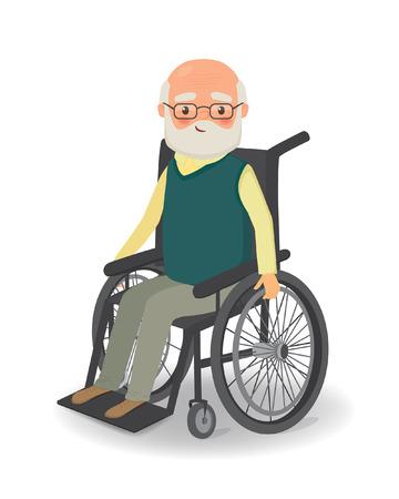 man: Senior man in wheelchair on a white background. Cartoon vector illustration