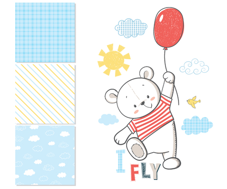 Little Bear is flying in a balloon. Surface pattern and 3 seamless patterns. Cartoon vector illustration