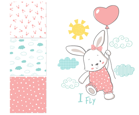 Little Bunny is flying in a balloon. Surface pattern and 3 seamless patterns. Cartoon vector illustration