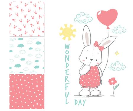Little Rabbit with balloon. Surface pattern and 3 seamless patterns. Cartoon vector illustration