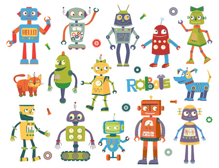 stuff toys: Set of vector robots in cartoon style. Isolated vector robots in a white background Illustration
