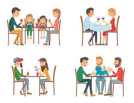 pareja comiendo: Colección de ilustración vectorial sobre el tema de la gente en el café. Ilustración aislada sobre fondo blanco Vectores