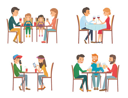 Collection of vector illustration on the theme of people in cafe. Isolated illustration on white background