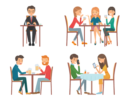 People in restaurant. Isolated vector illustration