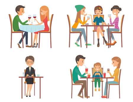 Set of vector illustration on the theme of people in restaurant. Isolated illustration on white background