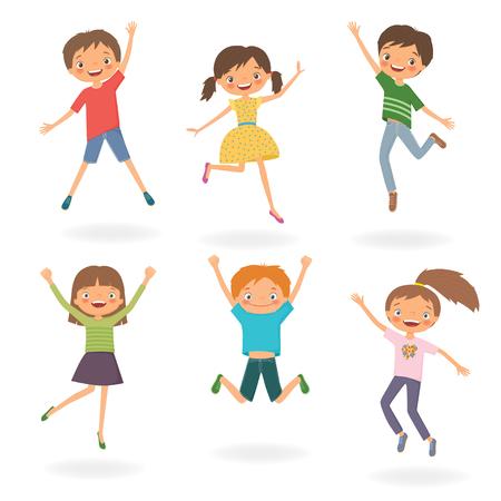 Gruppe Kinder springen. Karikaturvektorillustration lokalisiert auf einem weißen backgroung Standard-Bild - 73964862