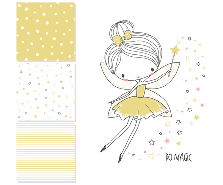 Little fairy. Surface design and 3 seamless patterns. Graphic for kid's clothing. Use for print design, surface design, fashion kids wear