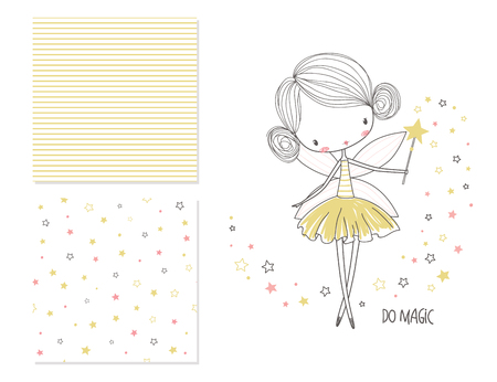 Little fairy. Surface design and 2 seamless patterns. Graphic for kids clothing. Use for print design, surface design, fashion kids wear