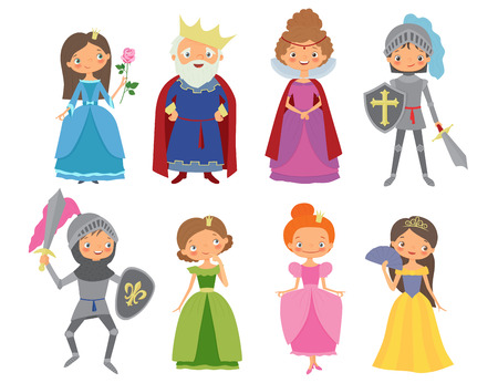 Fairy tale. King, Queen, Knights and Princesses. Cartoon vector illustration Illustration