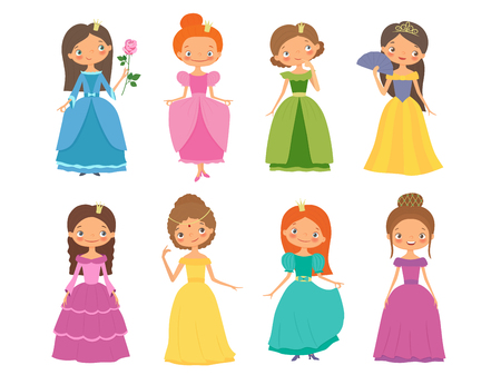 Fairy tale. Set of beautiful princesses. Cartoon vector illustration