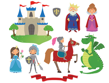 Set of fairy tale character. Cartoon vector illustration