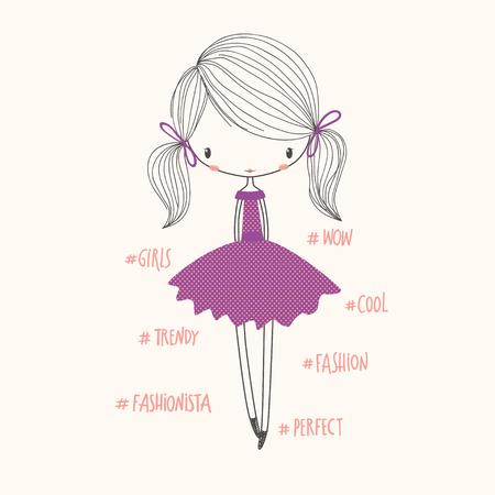Linda chica de moda. Ilustración de vivero de vector. Puede ser utilizado para la ropa de niños. Uso para diseño de impresión, diseño de superficie, ropa de niños de moda