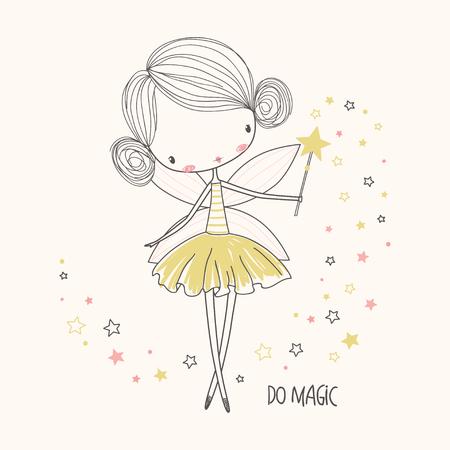 かわいい妖精。保育園のベクトル図です。子供の衣類に使用できます。印刷デザイン、表面デザイン、ファッション用キッズウェアします。  イラスト・ベクター素材