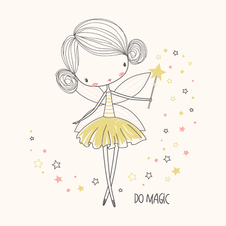 Cute little fairy. Nursery vector  illustration. Can be used for kid's clothing. Use for print design, surface design, fashion kids wear