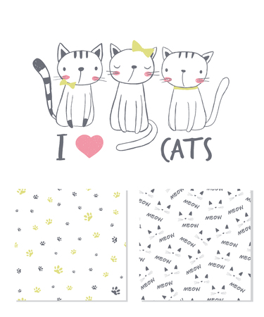I love cats. Surface design and 2 seamless patterns. T-shirt graphic for kid's clothing. Use for print design, surface design, fashion kids wear