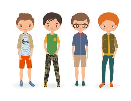 Fashion stylish boys. Cartoon vector illustration Illusztráció