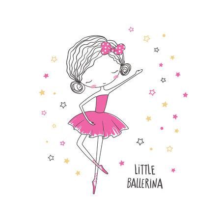 Little ballerina. T-shirt graphic for kid's clothing. Use for print design, surface design, fashion kids wear