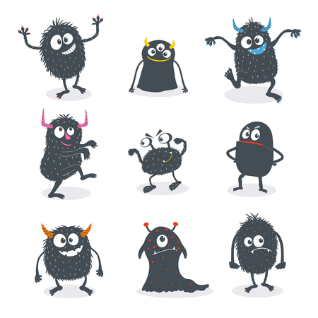 Cute cartoon monsters set. Use for print design, cards, surface design, fashion kids wear. Vector illustration