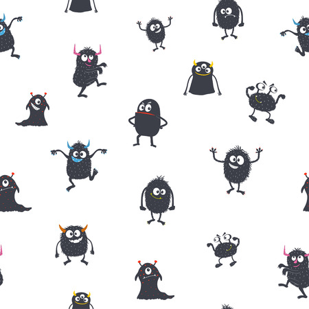 Cute cartoon monsters. Seamless pattern.  Vector illustration