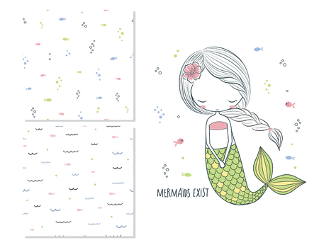 Mermaids exist. Surface design for kids and 2 seamless patterns. Use for print design, surface design, fashion kids wear. Cartoon vector illustration