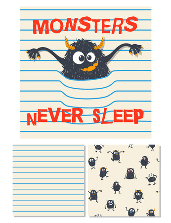 Monsters never sleep. Surface design and 2 seamless patterns. Use for print design, surface design, fashion kids wear. Vector illustration