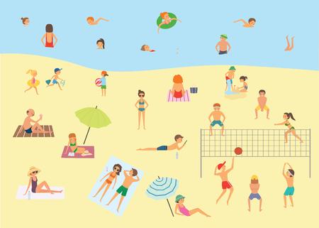 Personas relajantes en la playa de verano. Ilustración de vector de dibujos animados Foto de archivo - 84260392