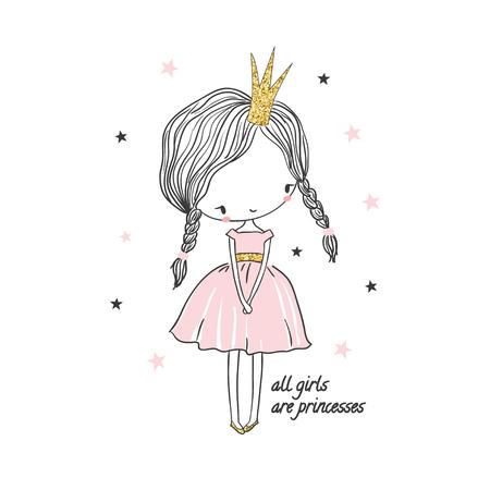 Linda niña princesa. Ilustración de moda para la ropa de los niños. Uso para diseño de impresión, diseño de superficie, ropa de niños de moda