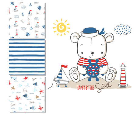 Sailor bear. Surface design and 3 seamless patterns. Graphic for kid's clothing. Use for print design, surface design, fashion kids wear