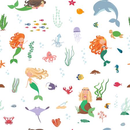 Cartoon underwater world illustration Ilustracja