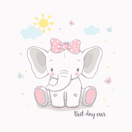 Little elephant girl. Vector illustration for kids. Use for print design, surface design, fashion kids wear, baby shower