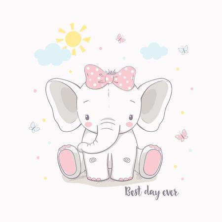 Mała dziewczynka słoń. Ilustracja wektorowa dla dzieci. Służy do projektowania nadruku, projektowania powierzchni, modnej odzieży dziecięcej, baby shower