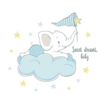 Pequeño elefante en la nube. Ilustración de vector de dibujos animados para niños. Uso para diseño de impresión, diseño de superficie, moda para niños, baby shower