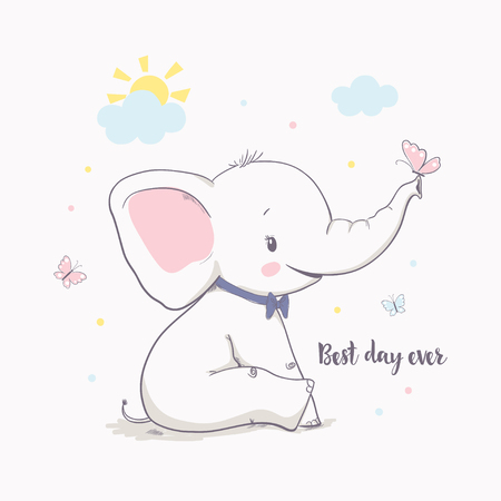 Little elephant with butterfly. Vector illustration for kids. Cartoon vector illustration for kids. Use for print design, surface design, fashion kids wear, baby shower