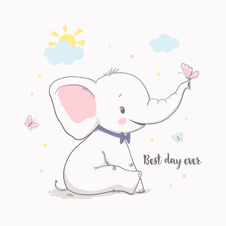 Mały słoń z motylem. Ilustracja wektorowa dla dzieci. Ilustracja wektorowa kreskówka dla dzieci. Służy do projektowania nadruku, projektowania powierzchni, modnej odzieży dziecięcej, baby shower