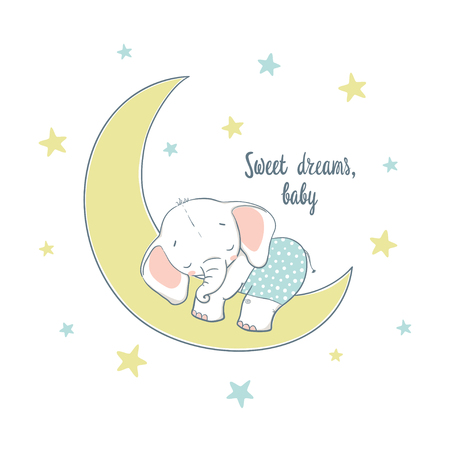 Sweet dreams. A little elephant sleep on the moon. Cartoon vector illustration for kids. Use for print design, surface design, fashion kids wear, baby shower Vettoriali