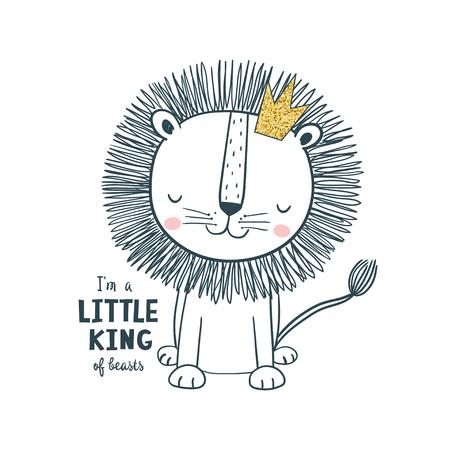 Pequeño rey león con corona. Ilustración de vector para niños Uso para diseño de impresión, diseño de superficie, moda para niños, baby shower
