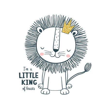 Little king lion wearing crown. Vector illustration for kids. Use for print design, surface design, fashion kids wear, baby shower Vectores