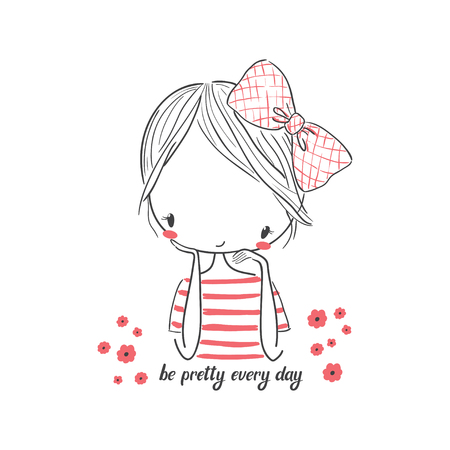 Cute girl with bow. Vector illustration for clothing. Use for print design, surface design, fashion kids wear
