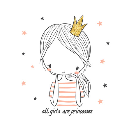 Cute princess girl. Fashion illustration for kids clothing. Use for print design, surface design, fashion kids wear Çizim