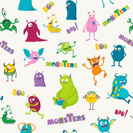 Cartoon monsters. Vector seamless pattern for kids Иллюстрация