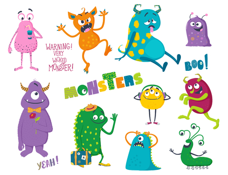 Cute cartoon monsters. Vector illustration for kids