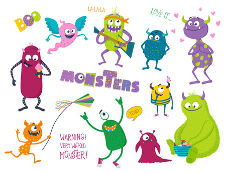 Cute monsters set. Vector illustration for kids