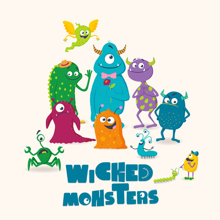 Wicked monsters. Greeting card for kids. Can be used for posters, flyers, greeting cards, print design etc.
