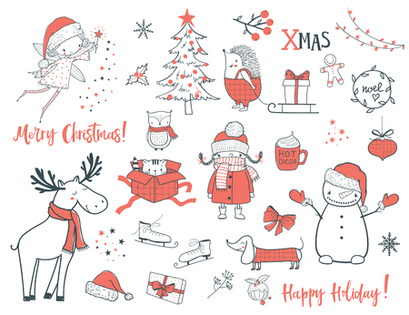 Cute christmas animals and elements set. Cartoon vector illustration. Use for print design, surface design, gift, greeting cards