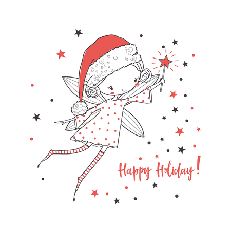 Christmas fairy. Cartoon vector illustration. Use for print design, surface design, gift, greeting cards