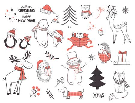 Cute christmas animals and elements set. Cartoon vector illustration Ilustração