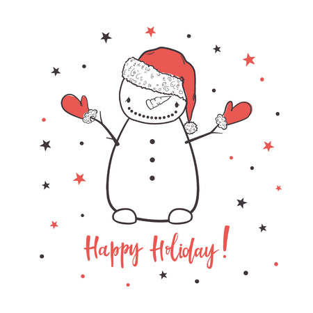 Happy holiday. Cartoon vector illustration with a snowman. Use for print design, surface design, gift, greeting cards